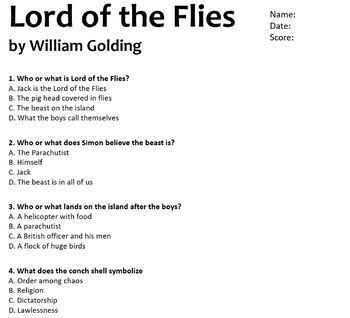 Lord of the Flies No Prep ELA Test Quiz Essay Questions