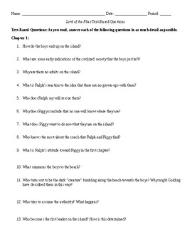 Lord of the Flies Text Based Questions