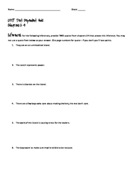 Lord of the Flies Text Dependent Quiz