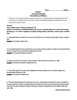 Lord of the Flies Ch. 1 Text and Quote Analysis
