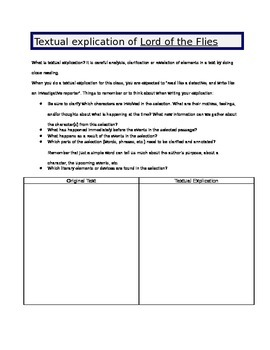 Lord of the Flies - Textual explication blank form