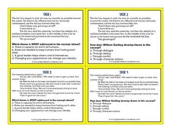 Lord of the Flies: Close Reading Task Cards Theme