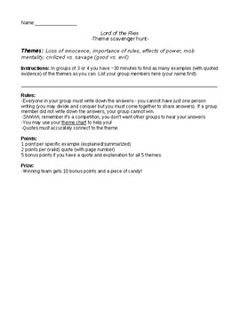 Lord of the Flies Theme Scavenger Hunt