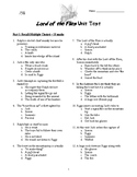 Lord of the Flies Unit Test and Key