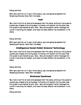 Lord of the Flies Universal Ideas group activity