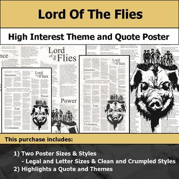 Lord of the Flies - Visual Theme and Quote Poster for Bulletin Boards