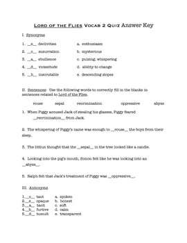 Lord of the Flies Vocab