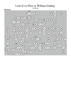 Lord of the Flies - Vocabulary Crossword Puzzle