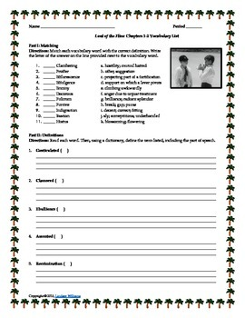 Lord of the Flies Vocabulary Enrichment Activities and Qui