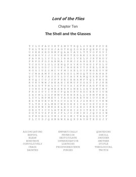 Lord of the Flies Vocabulary Word Search Chapter 10