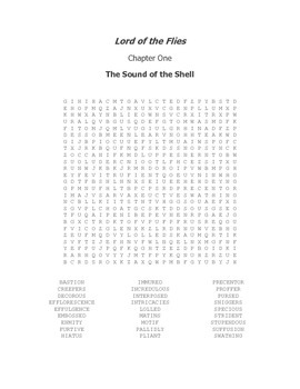 Lord of the Flies Vocabulary Word Search Packet Chapters 1-12