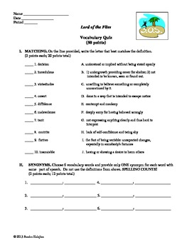 Lord of the Flies. Vocabulary and Quiz (w/ CCSS)