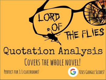 Lord of the Flies WHOLE NOVEL Quote Analysis BUNDLE