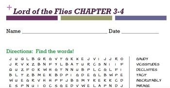 Lord of the Flies WORD SEARCHES (Bundle)