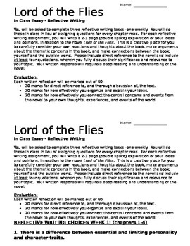 Fahrenheit 451 Essay Thesis Lord Of The Flies Weekly Inclass Essay Assignment Essay On Cow In English also Business Law Essay Questions Lord Of The Flies Weekly Inclass Essay Assignment By Relentless  English Example Essay