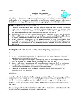 Lord of the Flies and Macbeth In-Class Essay Assessment