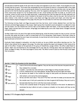 Lord of the Flies - by William Golding - GCSE Reading Comprehension / Text
