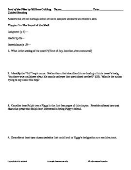 Lord of the Flies by William Golding Guided Reading Worksheets