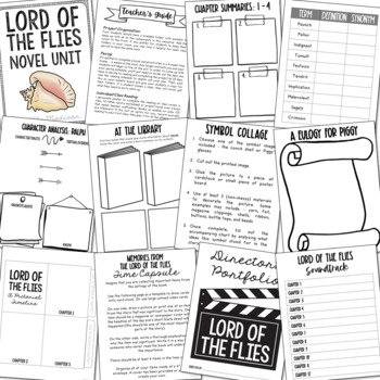 Lord of the Flies by William Golding Novel Companion, Creative Book Report