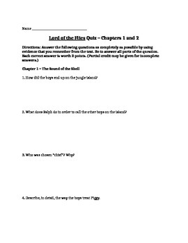 Lord of the Flies chapters 1-2 quiz