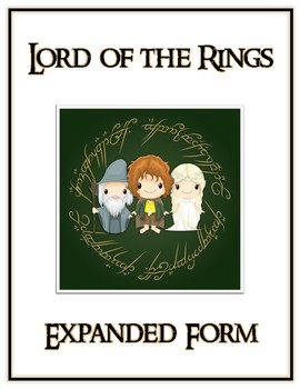 Lord of the Rings Expanded Form Math File Folder Game Place Value Tens & Ones