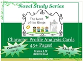 Lord of the Rings & Hobbit Character Profile Analysis Cards Common Core