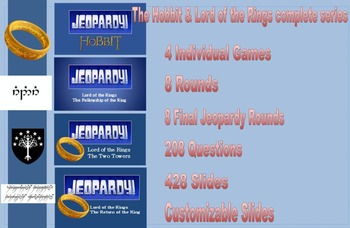 Lord of the Rings / The Hobbit (Tolkien) Bundle-Jeopardy. MONEY SAVER!