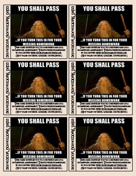 Lord of the Rings Themed Homework Passes