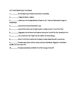Lord of the flies quiz chps 8-9