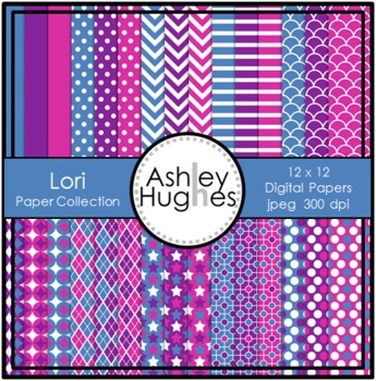 12x12 Digital Paper Set: Lori Collection {A Hughes Design}