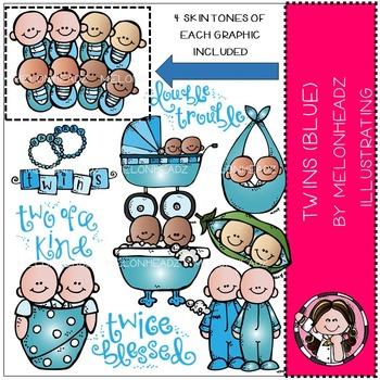 Twins BLUE clip art - COMBO PACK- by Melonheadz