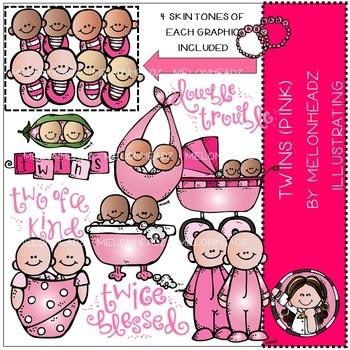 Twins PINK clip art - COMBO PACK- by Melonheadz