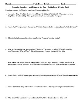 A raisin in the sun study guide act questions and answer key | tpt.
