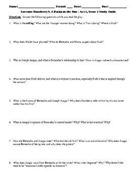 Lorraine Hansberry's A Raisin in the Sun Study Guide Packet