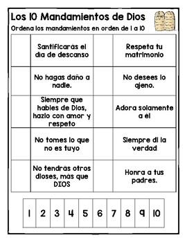 Los 10 Mandamientos Worksheets (Español)