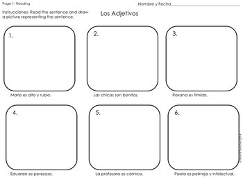 Los Adjetivos Spanish Adjectives Drawing Activity