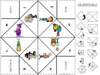 Los Adjetivos / Spanish adjectives Furtune Teller Origami
