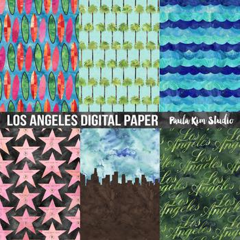 Los Angeles LA Watercolor Digital Paper