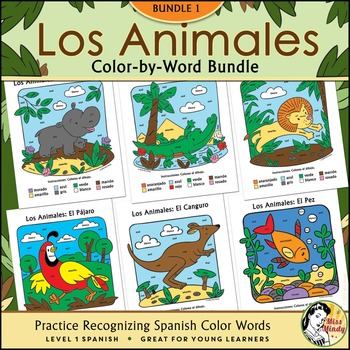 Los Animales BUNDLE ONE ~ Spanish Color-by-Word / Color-by-Number Coloring Pages