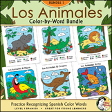 Los Animales BUNDLE ONE ~ Spanish Color-by-Word / Color-by