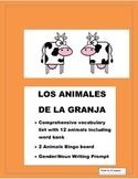 Spanish Farm Animals -Color Bingo Game- Gender/Noun-Farm Animales de la Granja