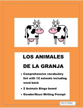 Spanish Farm Animals -Color Bingo Game- Gender/Noun-Farm Animales de la Granja