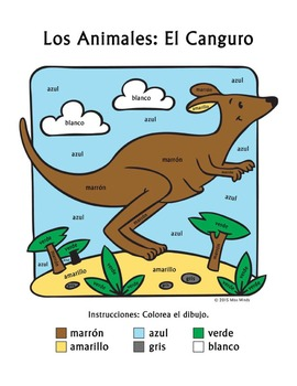 Los Animales: El Canguro ~ Recognizing Spanish Color Names Coloring Worksheet
