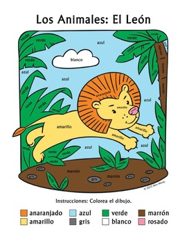 Los Animales: El León ~ Recognizing Spanish Color Names Color-by-Word Worksheet