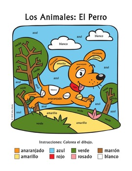 Los Animales: El Perro ~ Spanish Color Names Color-by-Word Dog, Pets, Animals