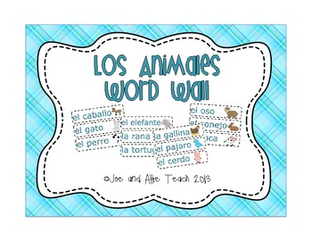 Los Animales: Spanish Animals Word Wall