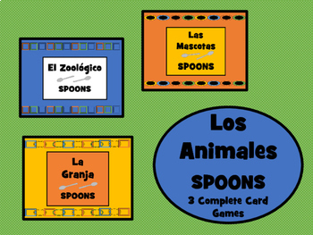 Los Animales - Spoons Card Games Bundle - 3 Complete Card Games in Spanish