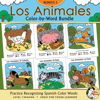 Los Animales de Granja BUNDLE TWO ~ Spanish Color-by-Word Farm Coloring Pages