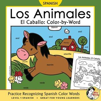 Los Animales de Granja El Caballo Spanish Colors Color-by-Word Horse Farm Animal