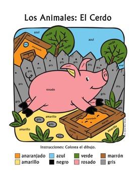 Los Animales de Granja: El Cerdo Spanish Colors ~Color-by-Word Pig, Farm Animals